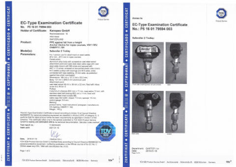 Kanope I Saferoller standards, certificates, patents