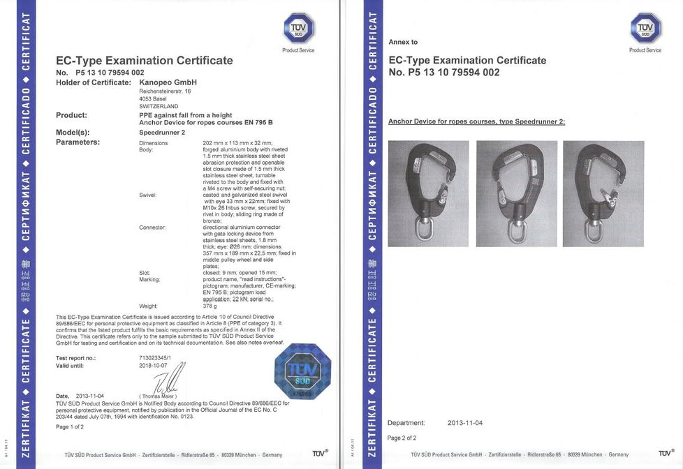 Kanopeo I Speedrunner standards, certificates, patents